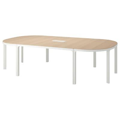 BEKANT mesa de reuniões chapa de carvalho c/velatura branca branco 280 cm 140 cm 73 cm 100 kg