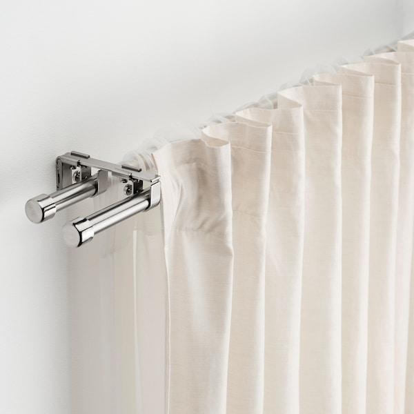 BEKRÄFTA Conj. varão duplo p/cortinados, niquelado, 120-210 cm 19 mm