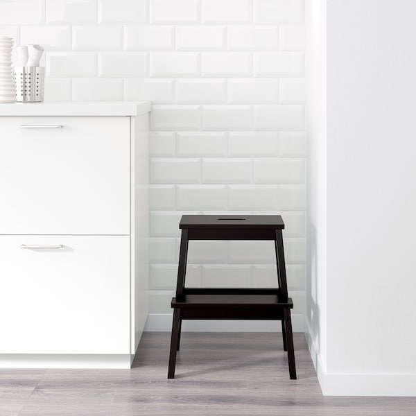 BEKVÄM Escadote com 2 degraus, preto, 50 cm