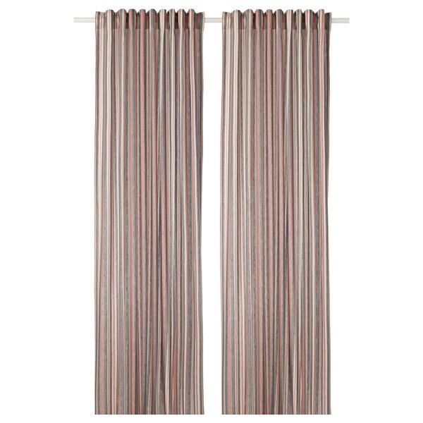 BERGSKRABBA cortinados, par cinz/verm às riscas 300 cm 145 cm 1.27 kg 4.35 m² 2 unidades