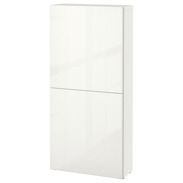 BESTÅ Armário parede c/2portas, branco/Selsviken branco/brilh, 60x22x128 cm