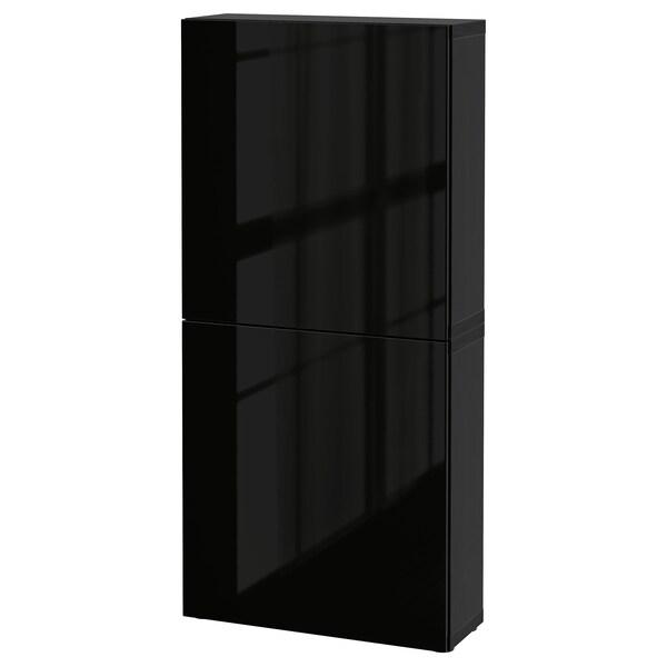 BESTÅ Armário parede c/2portas, preto-castanho/Selsviken brilhante/preto, 60x22x128 cm