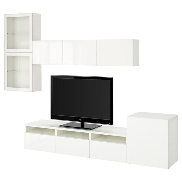 BESTÅ Comb arrum TV/portas vidro, branco/Selsviken vidro inc branco/brilhante, 300x42x211 cm