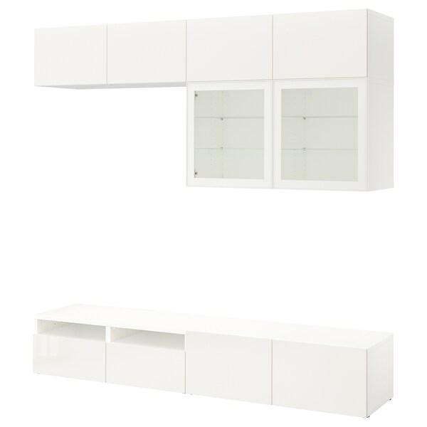 BESTÅ Comb arrum TV/portas vidro, branco/Selsviken vidro inc branco/brilhante, 240x40x230 cm