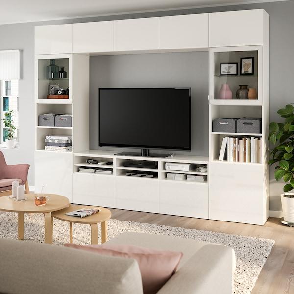 BESTÅ Comb arrum TV/portas vidro, branco/Selsviken vidro inc branco/brilhante, 300x40x230 cm