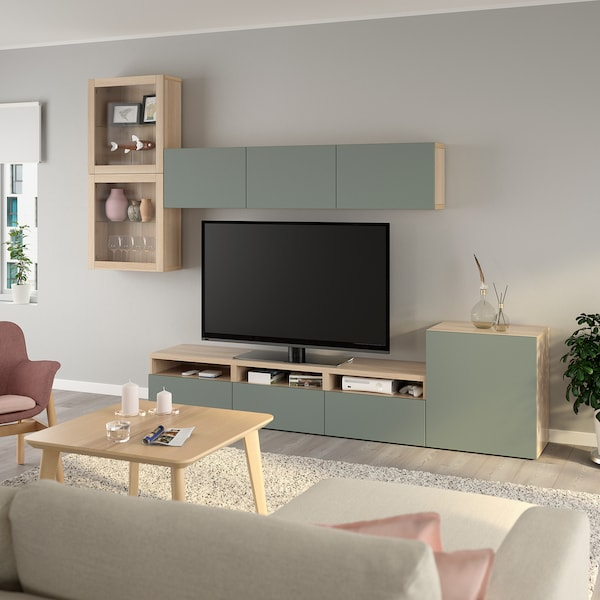 BESTÅ Comb arrum TV/portas vidro, ef carvalho c/velatura branca/Notviken vidro transparente verde acinz, 300x42x211 cm