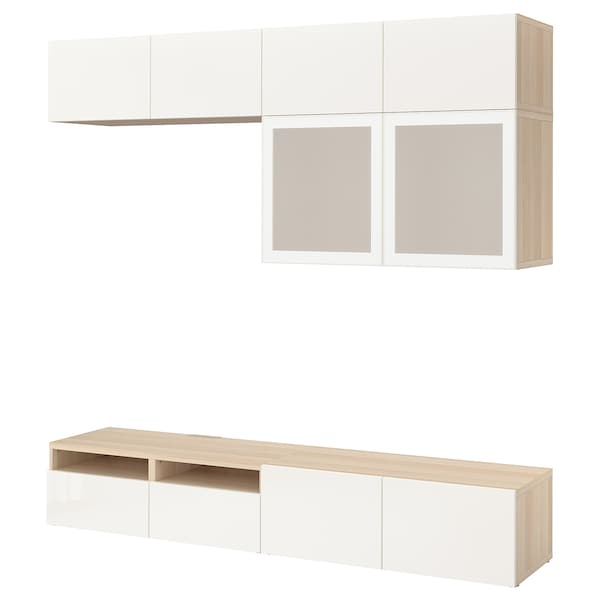 BESTÅ Comb arrum TV/portas vidro, ef carvalho c/velatura branca/Selsviken vidro fosco branco/brilhante, 240x40x230 cm