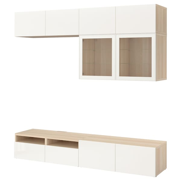 BESTÅ Comb arrum TV/portas vidro, ef carvalho c/velatura branca/Selsviken vidro inc branco/brilhante, 240x40x230 cm
