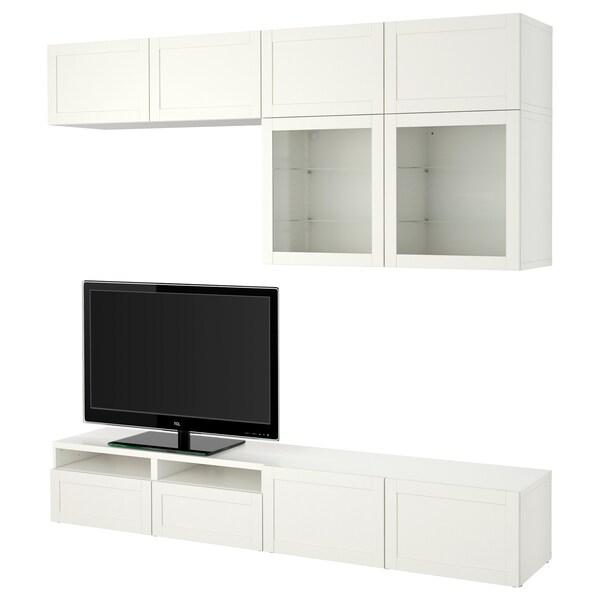 BESTÅ Comb arrum TV/portas vidro, Hanviken/Sindvik vidro transparente branco, 240x40x230 cm