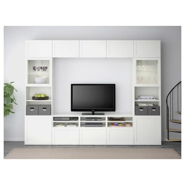 BESTÅ Comb arrum TV/portas vidro, Hanviken/Sindvik vidro transparente branco, 300x40x230 cm