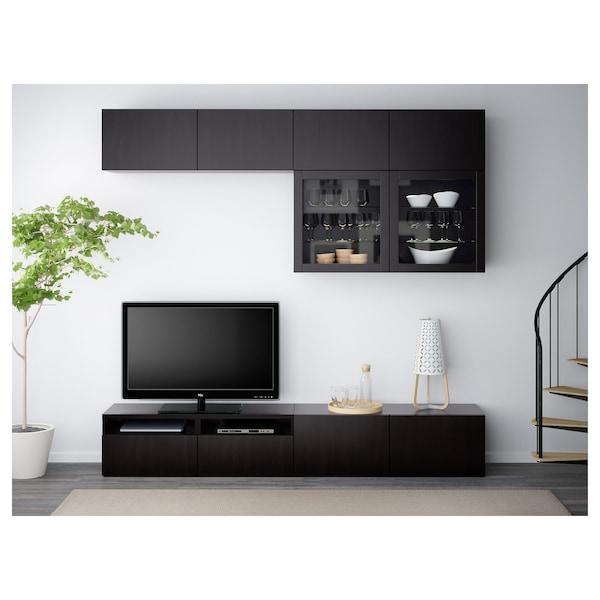 BESTÅ Comb arrum TV/portas vidro, Lappviken/Sindvik vidro transp preto-castanho, 240x40x230 cm