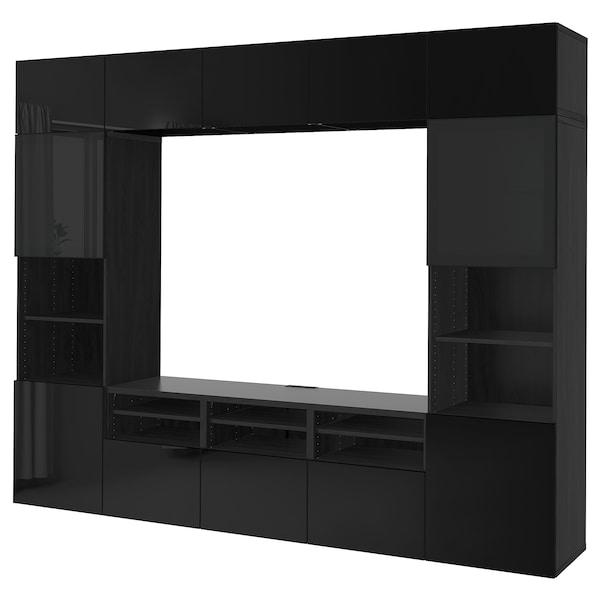 BESTÅ Comb arrum TV/portas vidro, preto-castanho/Selsviken vidro fumado preto/brilhante, 300x40x230 cm