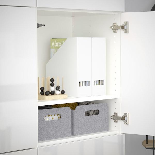 BESTÅ Comb arrumação c/portas, branco/Selsviken branco/brilh, 120x42x193 cm