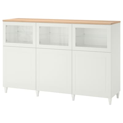 BESTÅ Comb arrumação c/portas, branco/Smeviken/Kabbarp vidro transparente branco, 180x42x114 cm