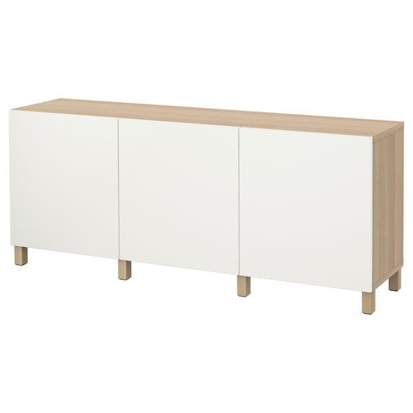 BESTÅ Comb arrumação c/portas, ef carvalho c/velatura branca/Lappviken branco, 180x42x74 cm
