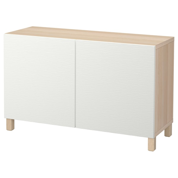 BESTÅ Comb arrumação c/portas, ef carvalho c/velatura branca/Laxviken branco, 120x40x74 cm