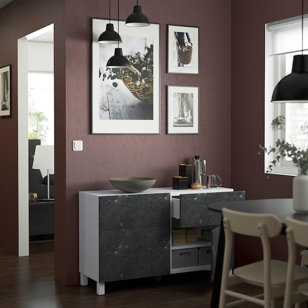 BESTÅ Comb arrumação c/portas/gavetas, branco Bergsviken/Stubbarp/preto efeito mármore, 120x42x74 cm