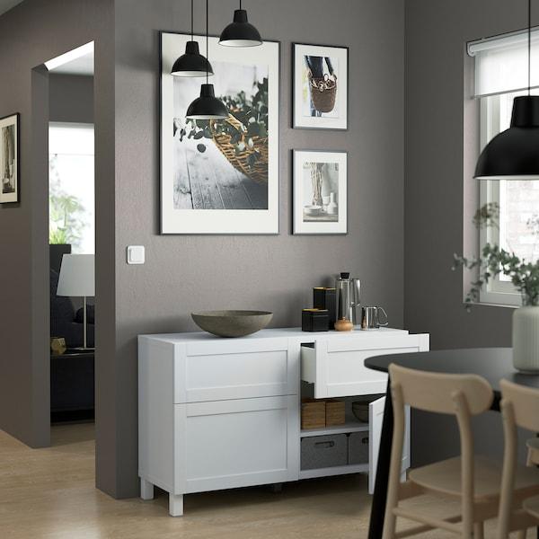 BESTÅ Comb arrumação c/portas/gavetas, branco/Hanviken/Stubbarp branco, 120x42x74 cm