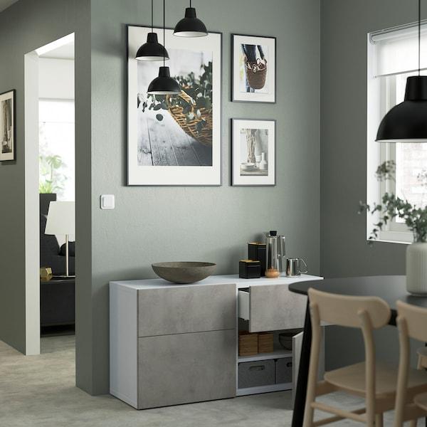BESTÅ Comb arrumação c/portas/gavetas, branco Kallviken/cinz clr efeito betão, 120x42x65 cm