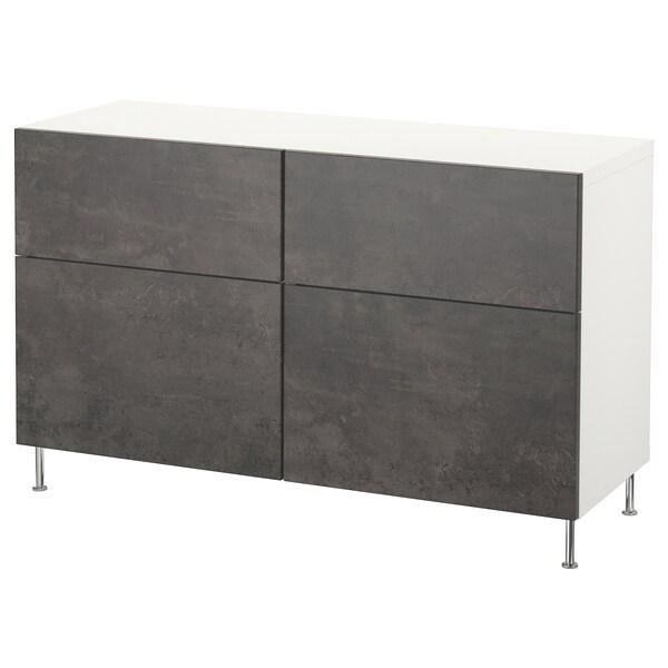BESTÅ Comb arrumação c/portas/gavetas, branco Kallviken/Stallarp/cinz esc efeito betão, 120x40x74 cm