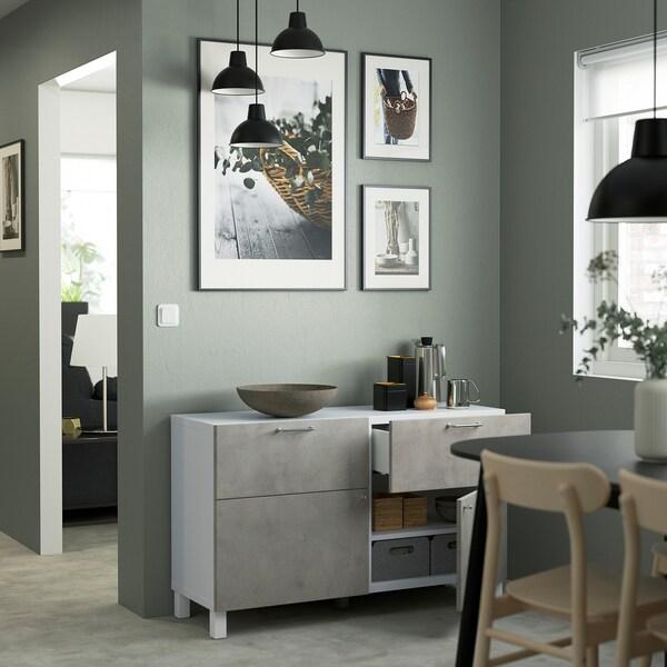 BESTÅ Comb arrumação c/portas/gavetas, branco Kallviken/Stubbarp/cinz clr efeito betão, 120x42x74 cm