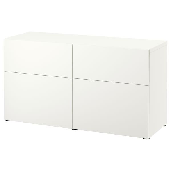 BESTÅ Comb arrumação c/portas/gavetas, branco/Lappviken branco, 120x42x65 cm