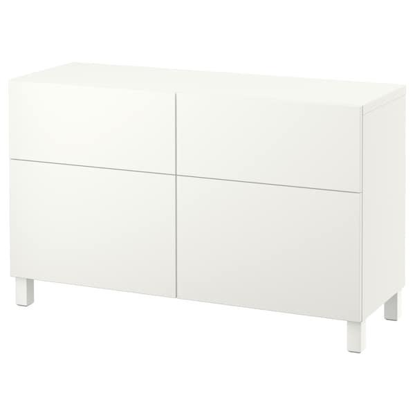 BESTÅ Comb arrumação c/portas/gavetas, branco/Lappviken/Stubbarp branco, 120x42x74 cm