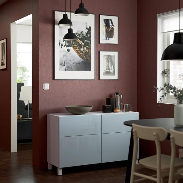 BESTÅ Comb arrumação c/portas/gavetas, branco Selsviken/Stallarp/brilh azul acinzentado claro, 120x42x74 cm