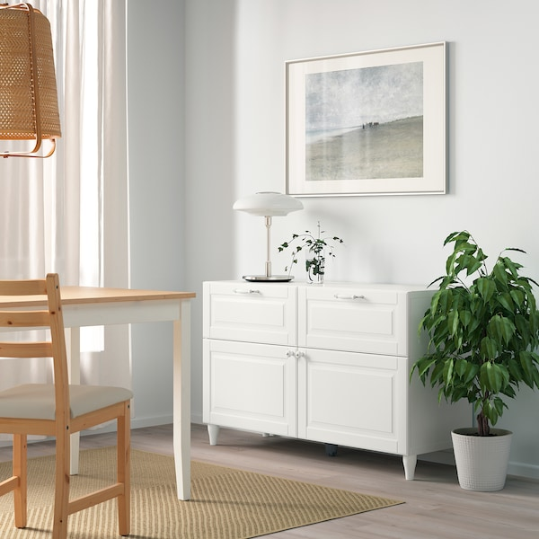 BESTÅ Comb arrumação c/portas/gavetas, branco/Smeviken/Kabbarp branco, 120x42x74 cm