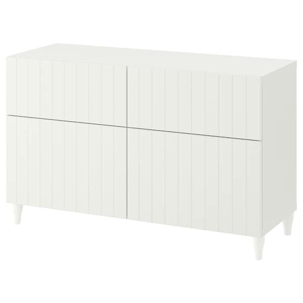 BESTÅ Comb arrumação c/portas/gavetas, branco/Sutterviken/Kabbarp branco, 120x42x74 cm