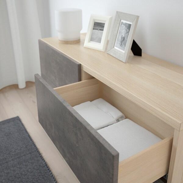 BESTÅ Comb arrumação c/portas/gavetas, ef carvalho c/velatura branca Kallviken/cinz esc efeito betão, 120x42x65 cm