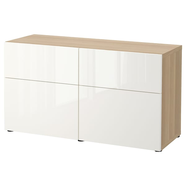 BESTÅ Comb arrumação c/portas/gavetas, ef carvalho c/velatura branca/Selsviken branco/brilh, 120x42x65 cm
