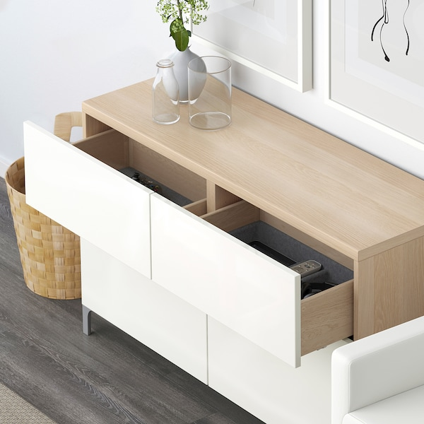 BESTÅ Comb arrumação c/portas/gavetas, ef carvalho c/velatura branca/Selsviken branco/brilh, 120x40x74 cm