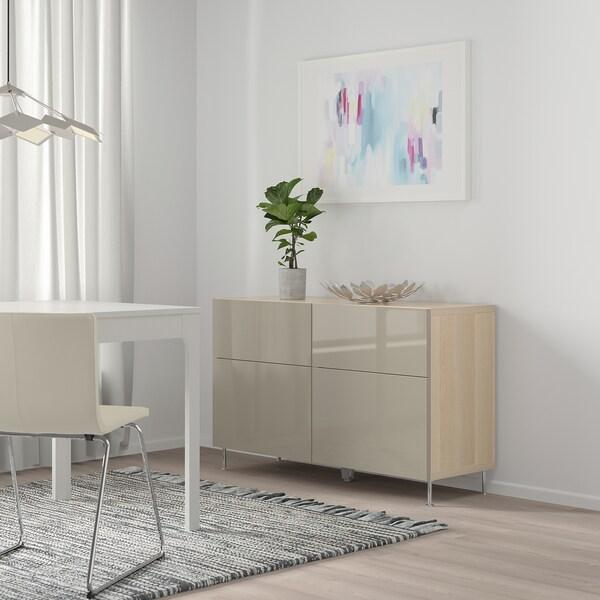 BESTÅ Comb arrumação c/portas/gavetas, ef carvalho c/velatura branca/Selsviken/Stallarp brilhante/bege, 120x40x74 cm