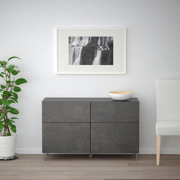 BESTÅ Comb arrumação c/portas/gavetas, preto-castanho Kallviken/Stallarp/cinz esc efeito betão, 120x40x74 cm