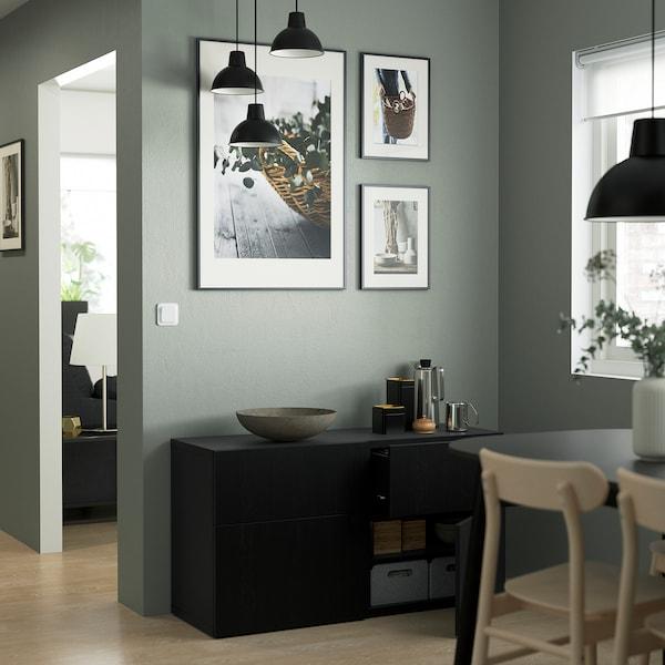 BESTÅ Comb arrumação c/portas/gavetas, preto-castanho/Lappviken preto-castanho, 120x42x65 cm