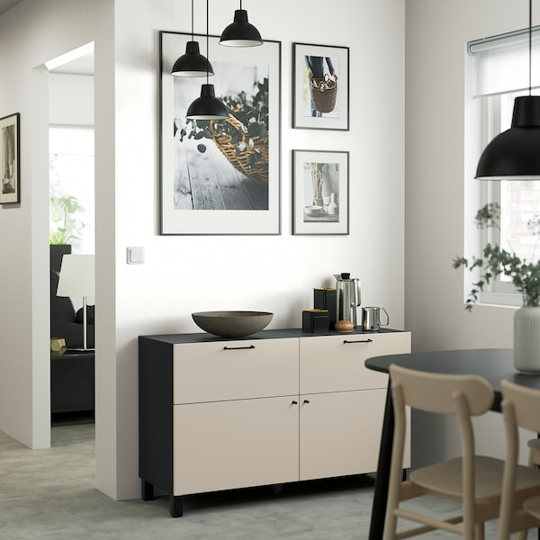 BESTÅ Comb arrumação c/portas/gavetas, preto-castanho/Lappviken/Stubbarp bege-cinzento claro, 120x42x74 cm