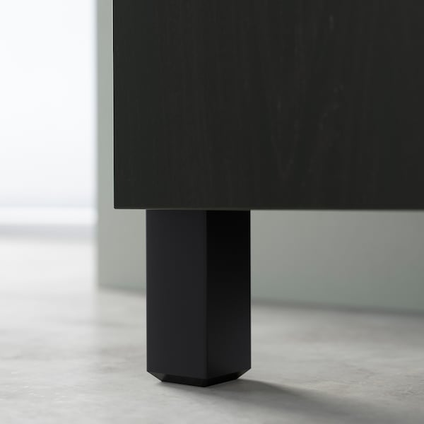 BESTÅ Comb arrumação c/portas/gavetas, preto-castanho/Riksviken/Stubbarp efeito estanho escuro escovado, 120x42x74 cm