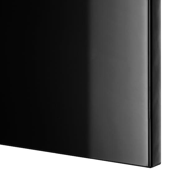 BESTÅ Comb arrumação c/portas/gavetas, preto-castanho/Selsviken brilhante/preto, 120x42x65 cm