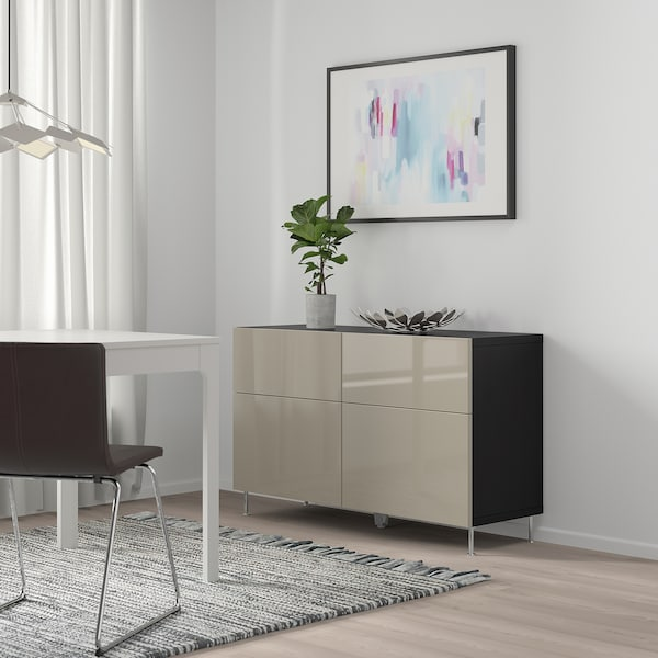 BESTÅ Comb arrumação c/portas/gavetas, preto-castanho/Selsviken/Stallarp brilhante/bege, 120x40x74 cm