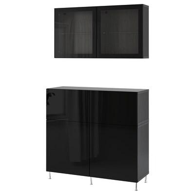 BESTÅ Comb arrumação c/portas/gavetas, preto-castanho/Selsviken/Stallarp vidro inc preto/brilhante, 120x42x240 cm