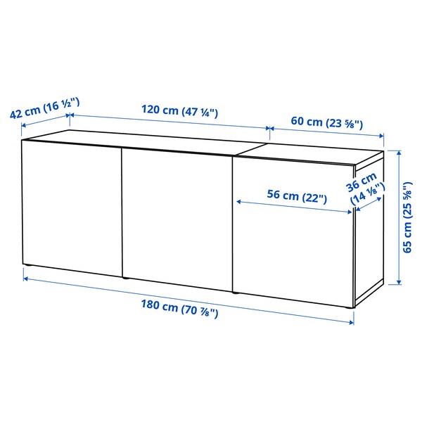 BESTÅ Comb arrumação c/portas, preto-castanho/Glassvik vidro fumado/preto, 180x42x65 cm