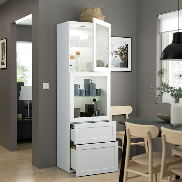 BESTÅ Combinação arrumação c/portas vidro, branco/Hanviken vidro transparente branco, 60x42x193 cm