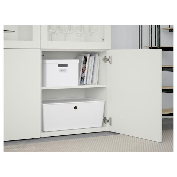 BESTÅ Combinação arrumação c/portas vidro, branco Lappviken/Sindvik vidro transparente branco, 120x42x193 cm