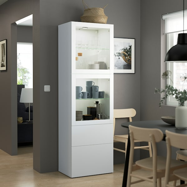 BESTÅ Combinação arrumação c/portas vidro, branco/Lappviken vidro transparente branco, 60x42x193 cm