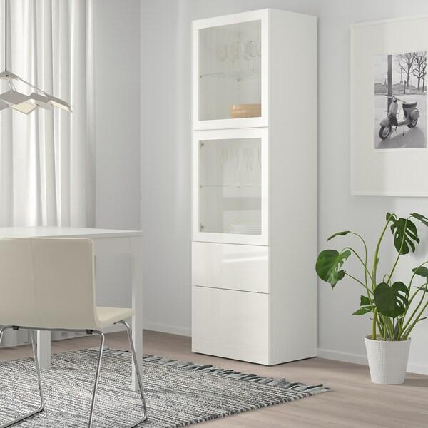 BESTÅ Combinação arrumação c/portas vidro, branco/Selsviken vidro inc branco/brilhante, 60x42x193 cm