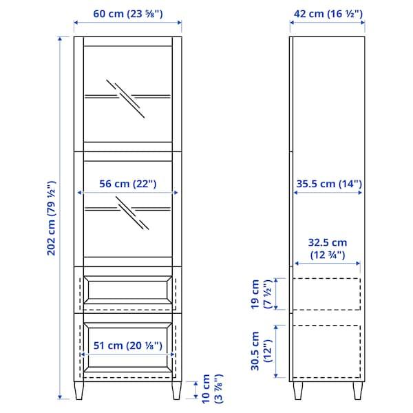 BESTÅ Combinação arrumação c/portas vidro, branco/Sutterviken/Kabbarp vidro transparente branco, 60x42x202 cm