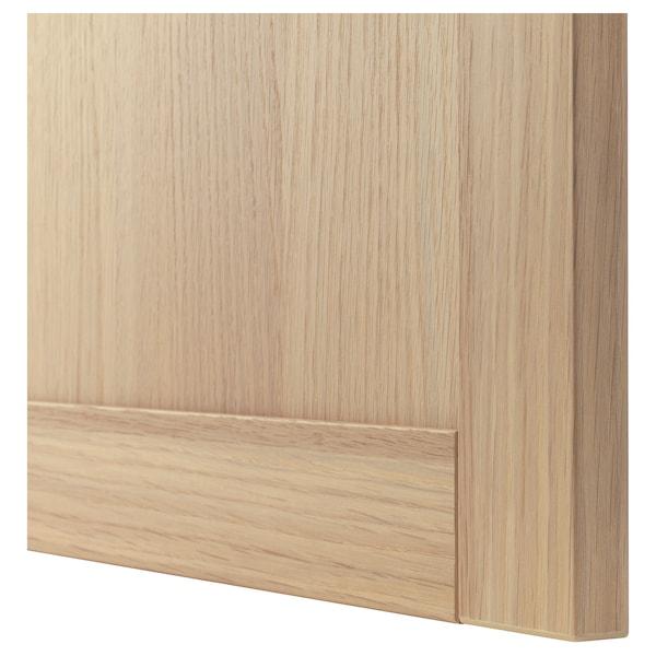 BESTÅ Combinação arrumação c/portas vidro, ef carvalho c/velatura branca/Hanviken vidro inc ef carvalho c/vel br, 60x42x193 cm