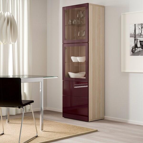 BESTÅ Combinação arrumação c/portas vidro, ef carvalho c/velatura branca Selsviken/vermelho acastanhado escuro vidro transparente, 60x42x193 cm