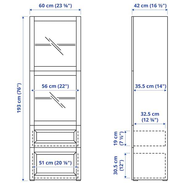 BESTÅ Combinação arrumação c/portas vidro, ef carvalho c/velatura branca/Selsviken vidro fosco branco/brilhante, 60x42x193 cm